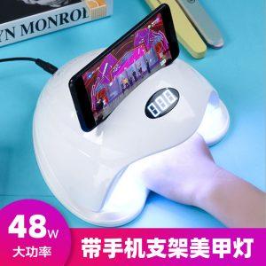 美甲机、光疗灯_指甲油胶烤灯36颗UVLED带手机支架美甲灯48W智能速干光疗烘干机